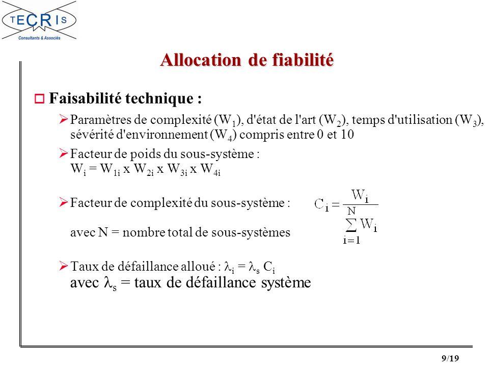 9/19 o Faisabilité technique : Paramètres de complexité (W 1 ), d'état de l'art (W 2 ), temps d'utilisation (W 3 ), sévérité d'environnement (W 4 ) co