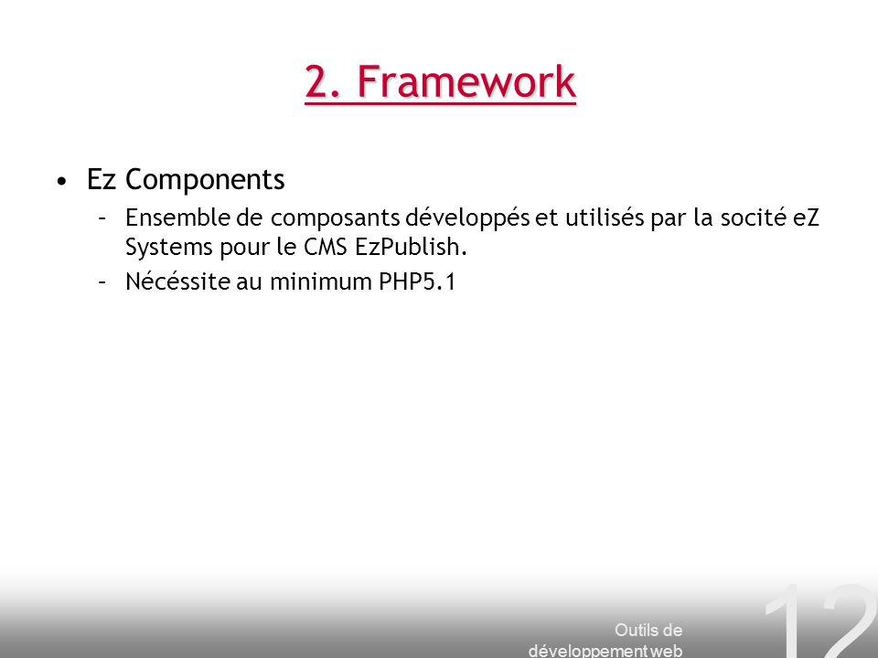 Outils de développement web 12 2. Framework Ez Components –Ensemble de composants développés et utilisés par la socité eZ Systems pour le CMS EzPublis