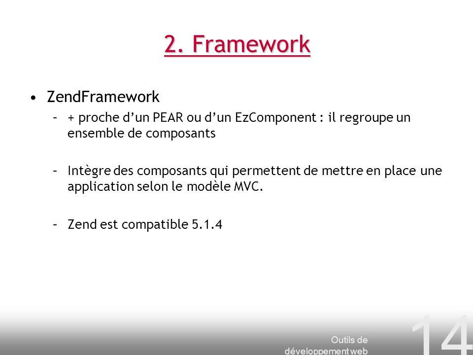 Outils de développement web 14 2. Framework ZendFramework –+ proche dun PEAR ou dun EzComponent : il regroupe un ensemble de composants –Intègre des c