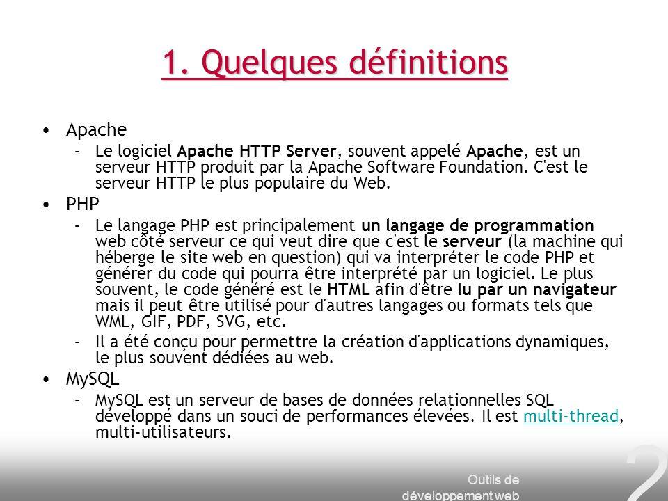 2 1. Quelques définitions Apache –Le logiciel Apache HTTP Server, souvent appelé Apache, est un serveur HTTP produit par la Apache Software Foundation