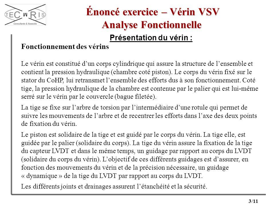 3/11 Énoncé exercice – Vérin VSV Énoncé exercice – Vérin VSV Analyse Fonctionnelle Présentation du vérin : Fonctionnement des vérins Le vérin est cons