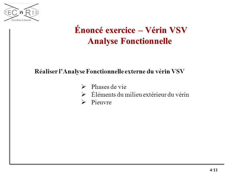 4/11 Énoncé exercice – Vérin VSV Énoncé exercice – Vérin VSV Analyse Fonctionnelle Réaliser lAnalyse Fonctionnelle externe du vérin VSV Phases de vie
