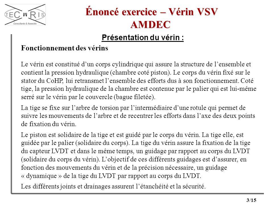 3/15 Énoncé exercice – Vérin VSV Énoncé exercice – Vérin VSVAMDEC Présentation du vérin : Fonctionnement des vérins Le vérin est constitué dun corps c