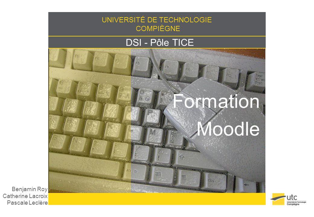 UNIVERSITÉ DE TECHNOLOGIE COMPIÈGNE DSI - Pôle TICE Formation Moodle Benjamin Roy Catherine Lacroix Pascale Leclère