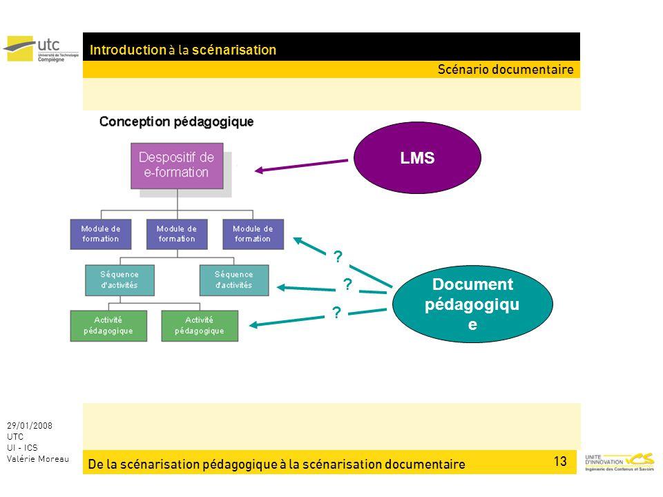 De la scénarisation pédagogique à la scénarisation documentaire 13 29/01/2008 UTC UI - ICS Valérie Moreau Introduction à la scénarisation LMS Document pédagogiqu e .
