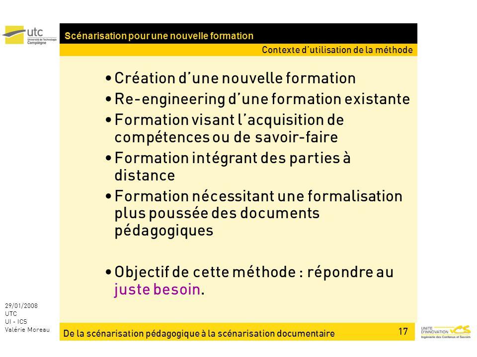 De la scénarisation pédagogique à la scénarisation documentaire 17 29/01/2008 UTC UI - ICS Valérie Moreau Création dune nouvelle formation Re-engineer