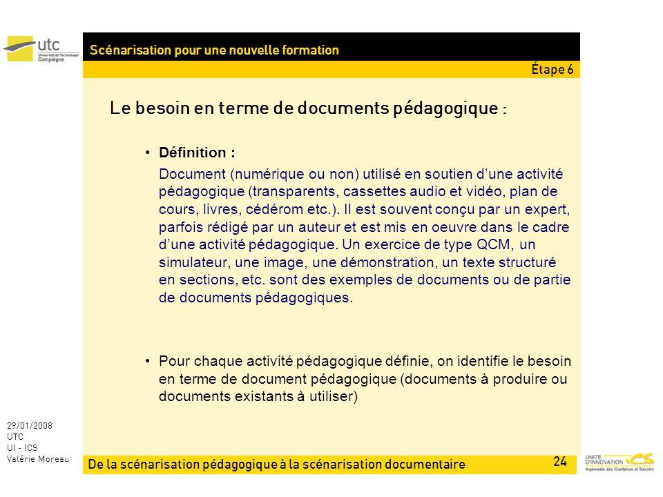 De la scénarisation pédagogique à la scénarisation documentaire 24 29/01/2008 UTC UI - ICS Valérie Moreau Scénarisation pour une nouvelle formation Le