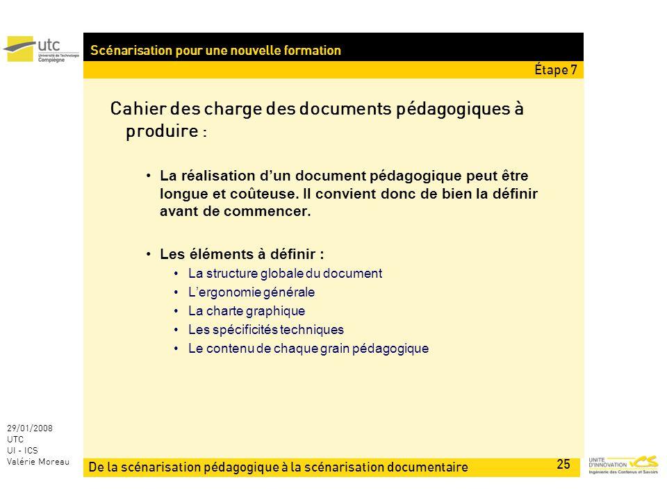 De la scénarisation pédagogique à la scénarisation documentaire 25 29/01/2008 UTC UI - ICS Valérie Moreau Scénarisation pour une nouvelle formation Cahier des charge des documents pédagogiques à produire : La réalisation dun document pédagogique peut être longue et coûteuse.