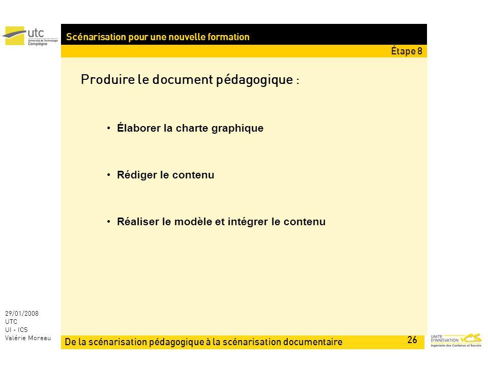 De la scénarisation pédagogique à la scénarisation documentaire 26 29/01/2008 UTC UI - ICS Valérie Moreau Scénarisation pour une nouvelle formation Produire le document pédagogique : Élaborer la charte graphique Rédiger le contenu Réaliser le modèle et intégrer le contenu Étape 8