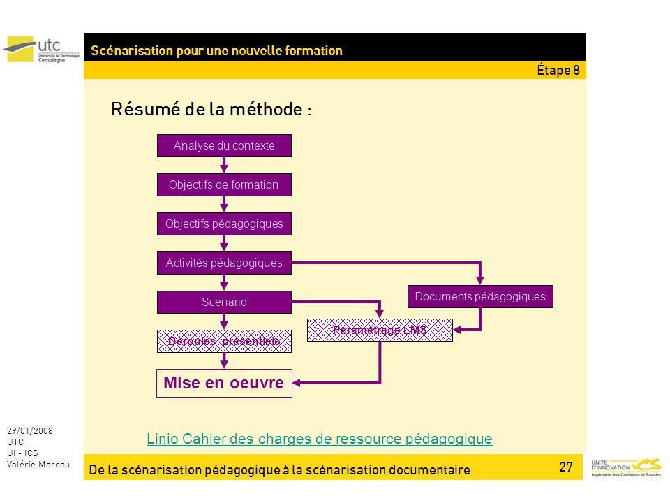 De la scénarisation pédagogique à la scénarisation documentaire 27 29/01/2008 UTC UI - ICS Valérie Moreau Résumé de la méthode : Linio Cahier des char
