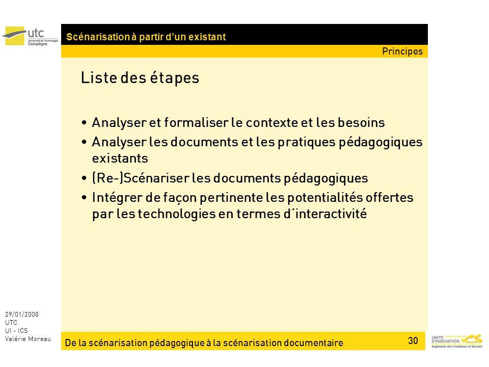 De la scénarisation pédagogique à la scénarisation documentaire 30 29/01/2008 UTC UI - ICS Valérie Moreau Liste des étapes Analyser et formaliser le c