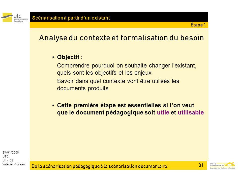 De la scénarisation pédagogique à la scénarisation documentaire 31 29/01/2008 UTC UI - ICS Valérie Moreau Analyse du contexte et formalisation du beso