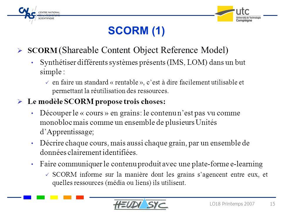 LO18 Printemps 2007 14 Exemples des spécifications et normes Learning Object Model Description de lobjet pédagogique selon 9 catégories Informations t