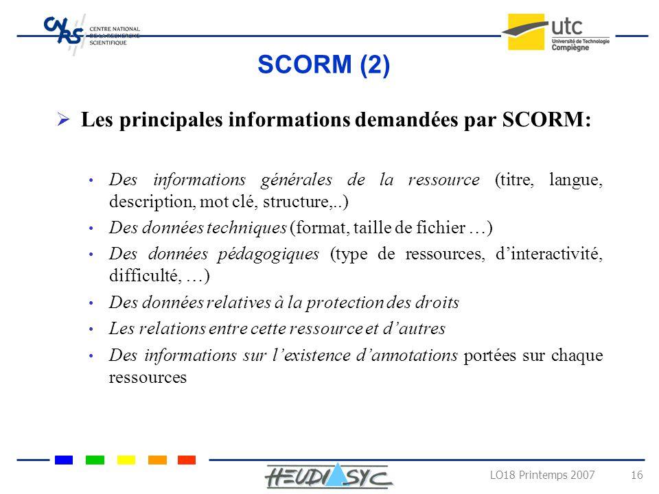 LO18 Printemps 2007 15 SCORM (1) SCORM (Shareable Content Object Reference Model) Synthétiser différents systèmes présents (IMS, LOM) dans un but simp