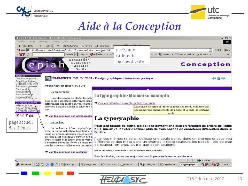 LO18 Printemps 2007 22 Design Pédagogique le projet CEPIAH Aide à la Conception Guide interactif accessible sur le web Aide à lÉvaluation Modèles Péda