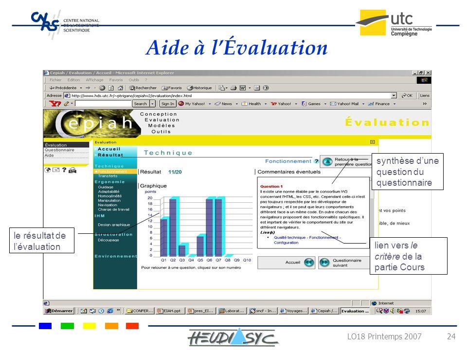 LO18 Printemps 2007 23 Aide à la Conception page accueil des thèmes accès aux différents parties du site
