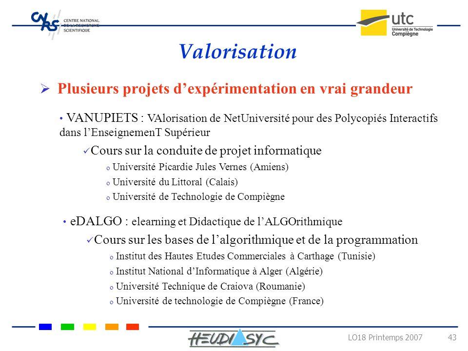 LO18 Printemps 2007 42 Conclusions et Perspectives Travail en cours Tester et corriger la première version du NetUniversité Intégration des outils de