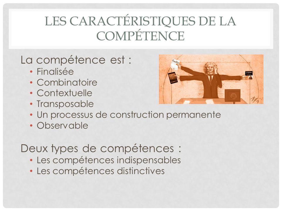 LES CARACTÉRISTIQUES DE LA COMPÉTENCE La compétence est : Finalisée Combinatoire Contextuelle Transposable Un processus de construction permanente Obs