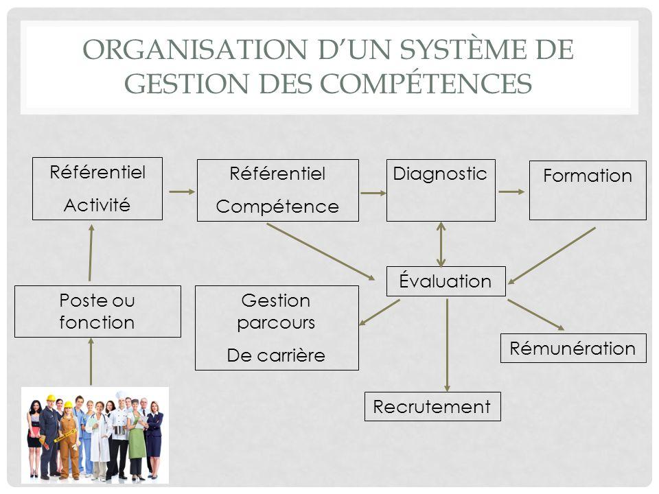ORGANISATION DUN SYSTÈME DE GESTION DES COMPÉTENCES Référentiel Activité Référentiel Compétence Diagnostic Formation Évaluation Recrutement Rémunérati