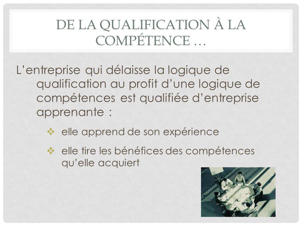 DE LA QUALIFICATION À LA COMPÉTENCE … Lentreprise qui délaisse la logique de qualification au profit dune logique de compétences est qualifiée dentrep