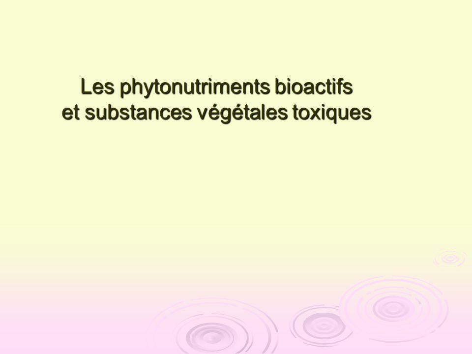 Rhodes, 1998 Rhodes, 1998 Phénylalanine Acide cinnamique Acides hydroxycinnamiques Hydroxycinnamoyl CoAs Schéma simplifié de la biosynthèse des phytonutriments phénoliques: CHALCONES FLAVANONES FLAVAN-3-OLS ANTHOCYANINES STILBENES ISOFLAVONOIDES TANNINS FLAVONES FLAVONOLS esters LIGNINES } Coumarines