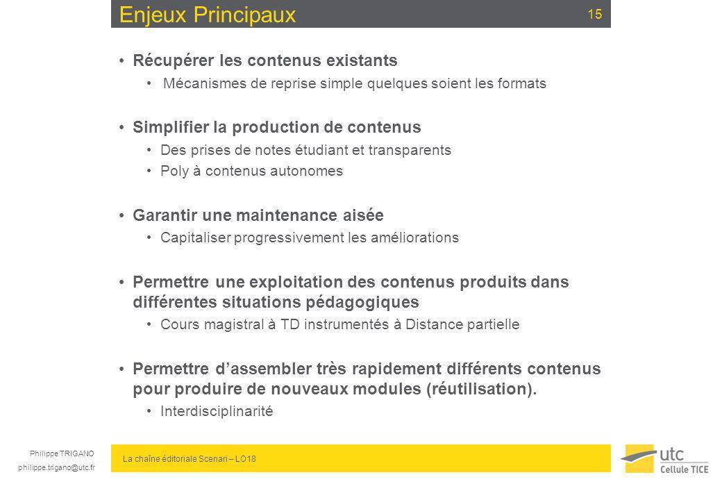 Philippe TRIGANO philippe.trigano@utc.fr La chaîne éditoriale Scenari – LO18 Enjeux Principaux Récupérer les contenus existants Mécanismes de reprise