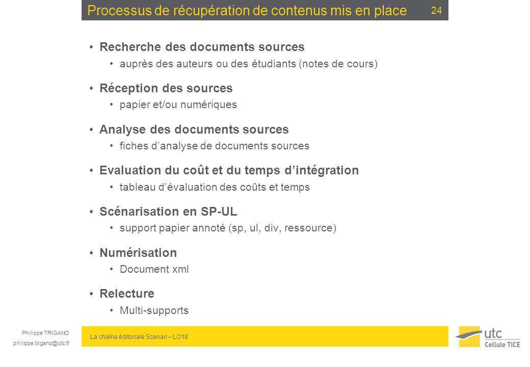 Philippe TRIGANO philippe.trigano@utc.fr La chaîne éditoriale Scenari – LO18 Processus de récupération de contenus mis en place Recherche des document