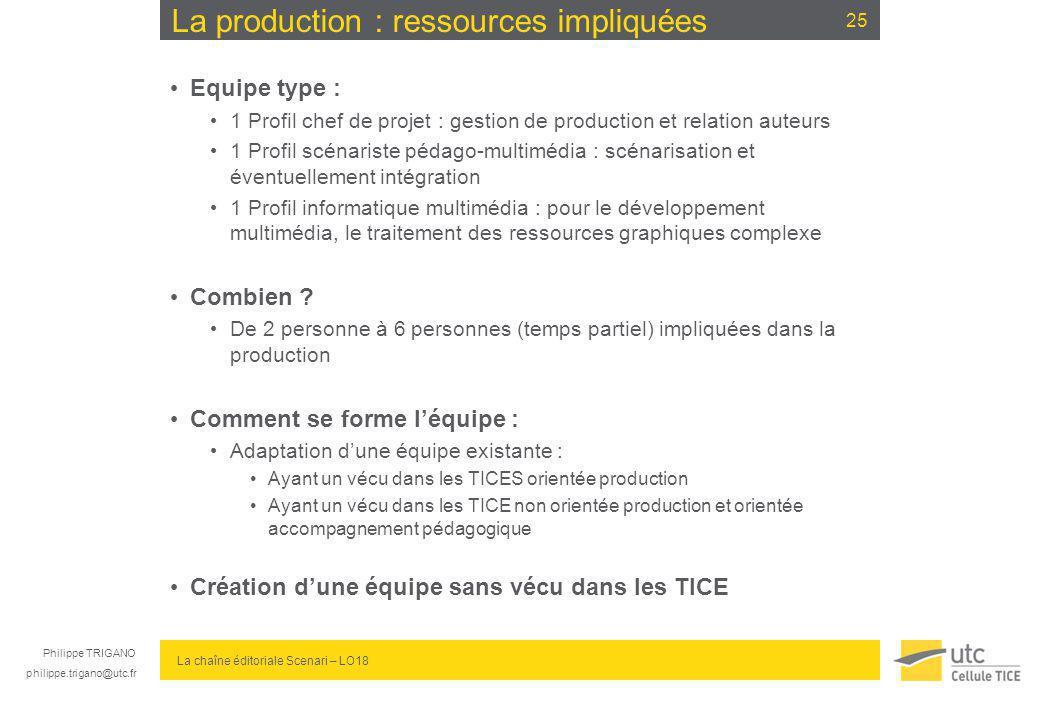 Philippe TRIGANO philippe.trigano@utc.fr La chaîne éditoriale Scenari – LO18 La production : ressources impliquées Equipe type : 1 Profil chef de proj