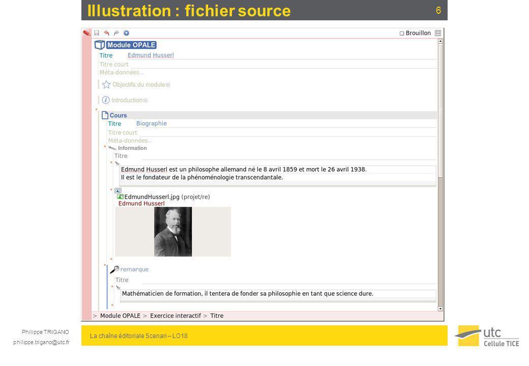 Philippe TRIGANO philippe.trigano@utc.fr La chaîne éditoriale Scenari – LO18 Illustration : fichier source 6