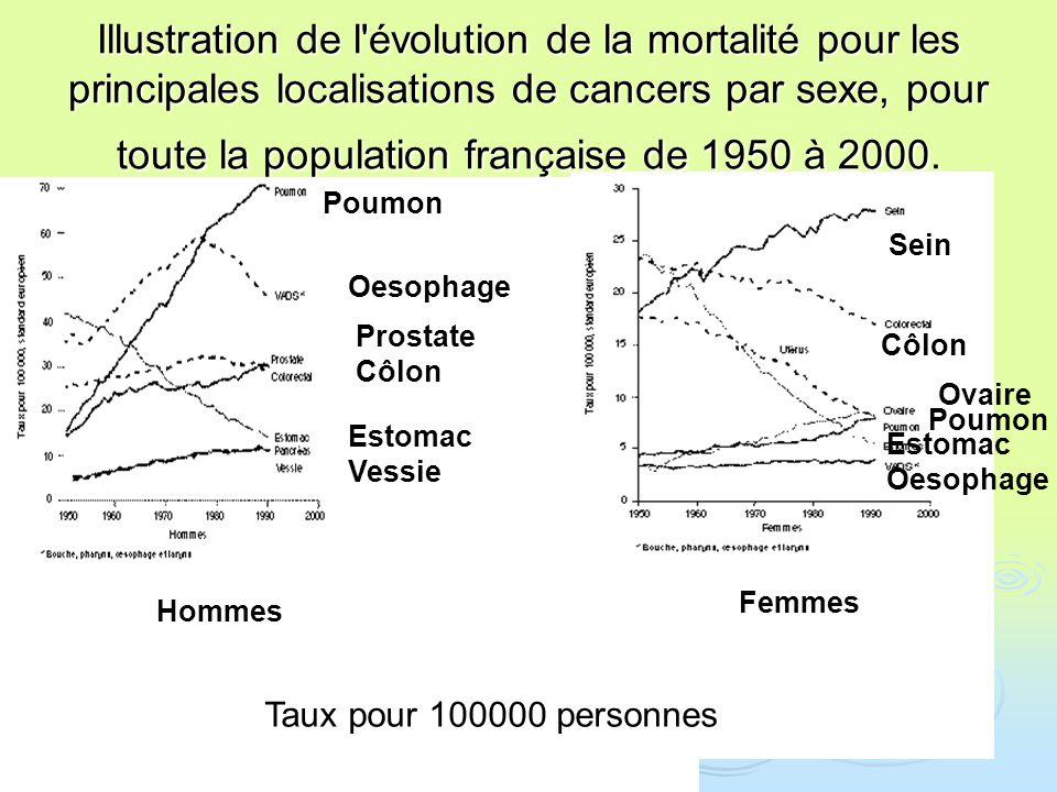 Illustration de l'évolution de la mortalité pour les principales localisations de cancers par sexe, pour toute la population française de 1950 à 2000.