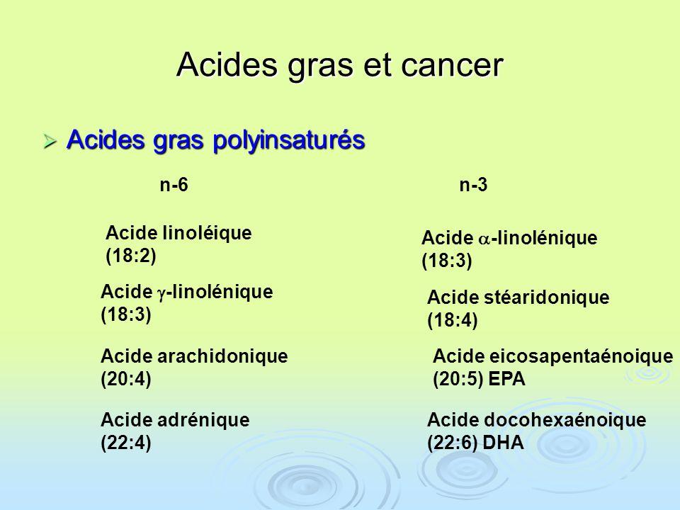 Acides gras et cancer Acides gras polyinsaturés Acides gras polyinsaturés Acide linoléique (18:2) Acide -linolénique (18:3) Acide -linolénique (18:3) Acide arachidonique (20:4) Acide adrénique (22:4) Acide stéaridonique (18:4) Acide eicosapentaénoique (20:5) EPA Acide docohexaénoique (22:6) DHA n-3n-6