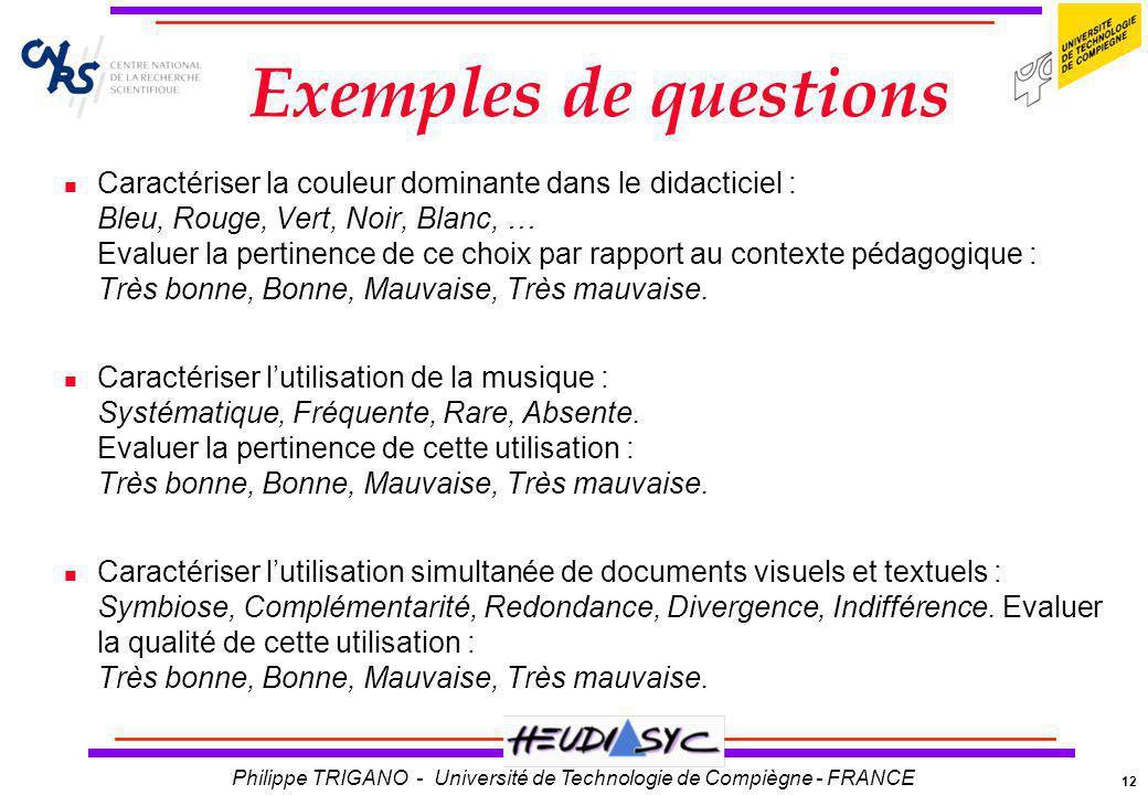 12 Philippe TRIGANO - Université de Technologie de Compiègne - FRANCE Exemples de questions Caractériser la couleur dominante dans le didacticiel : Bl