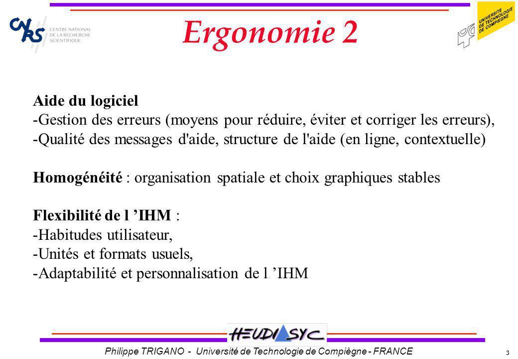 3 Philippe TRIGANO - Université de Technologie de Compiègne - FRANCE Ergonomie 2 Aide du logiciel -Gestion des erreurs (moyens pour réduire, éviter et