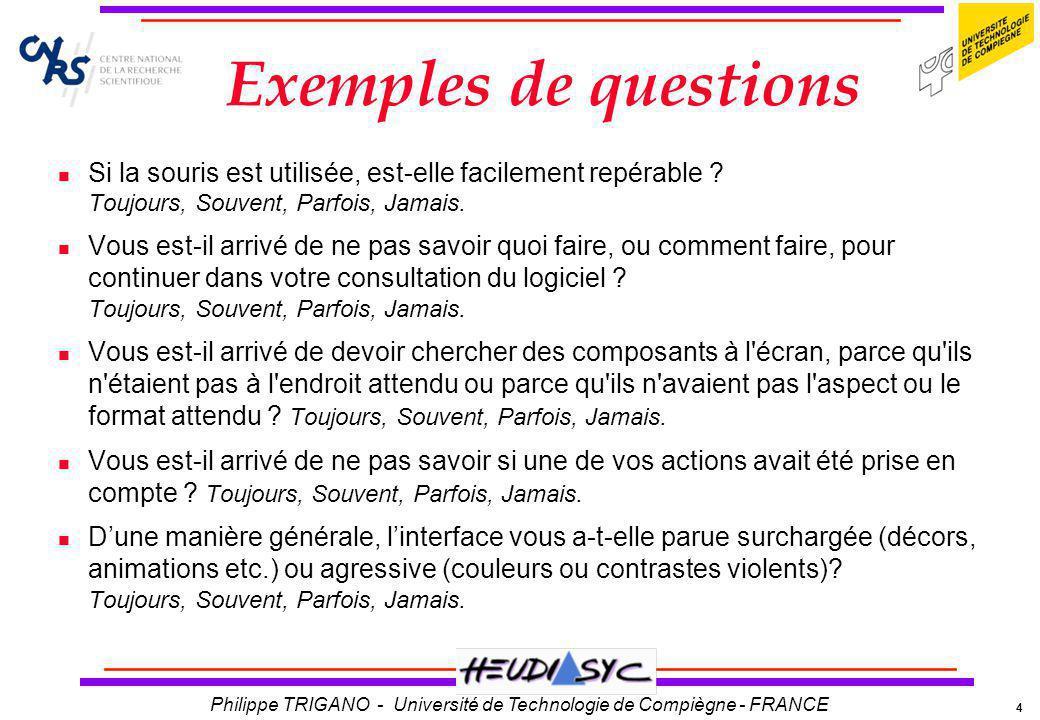 4 Philippe TRIGANO - Université de Technologie de Compiègne - FRANCE Exemples de questions Si la souris est utilisée, est-elle facilement repérable ?