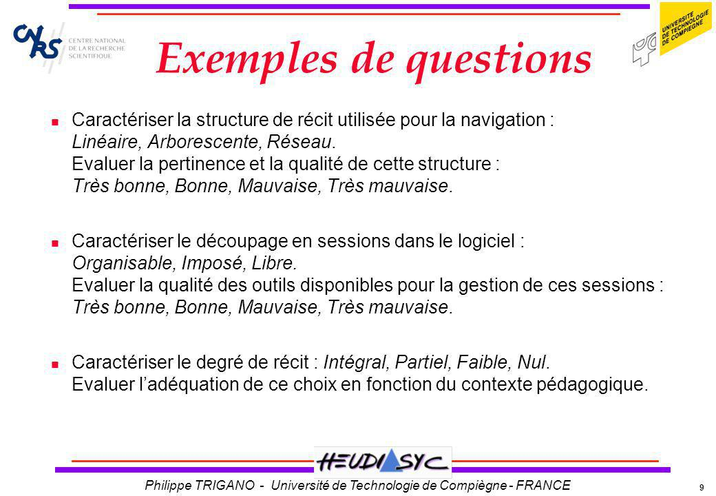 9 Philippe TRIGANO - Université de Technologie de Compiègne - FRANCE Exemples de questions Caractériser la structure de récit utilisée pour la navigat