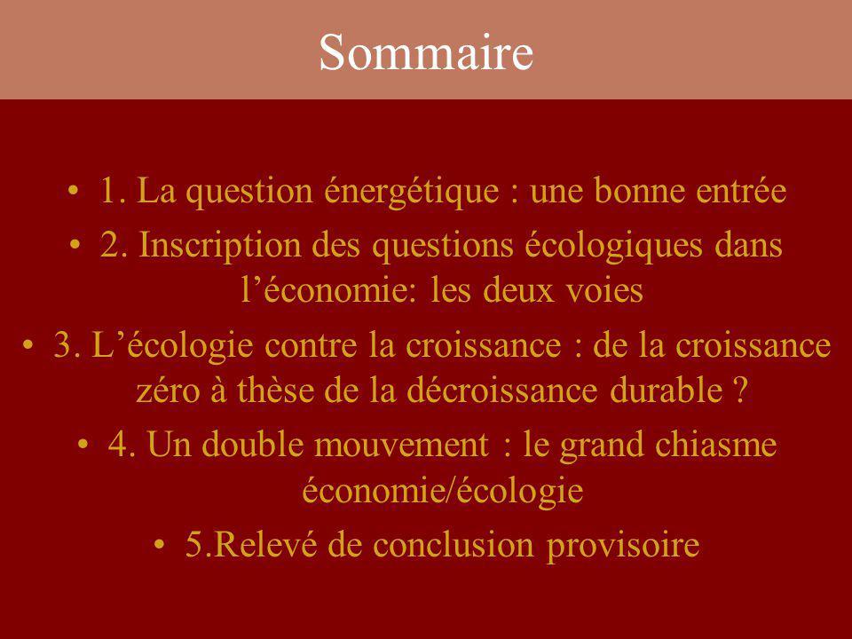 Sommaire 1. La question énergétique : une bonne entrée 2. Inscription des questions écologiques dans léconomie: les deux voies 3. Lécologie contre la