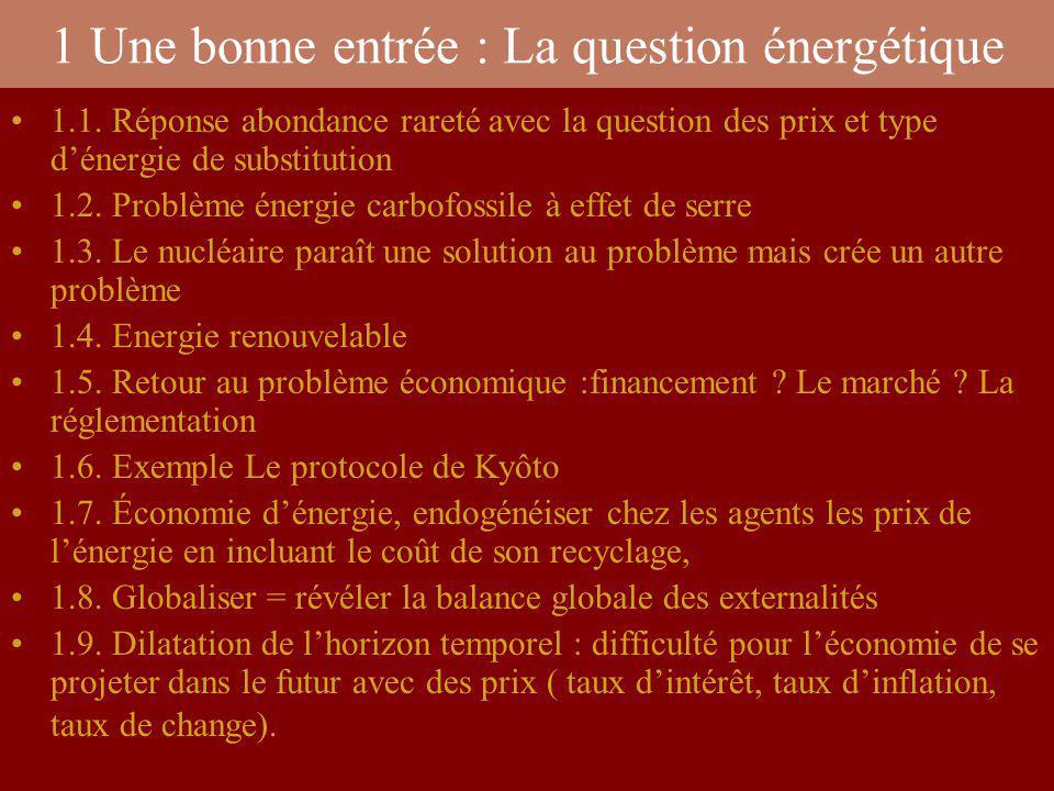 1 Une bonne entrée : La question énergétique 1.1. Réponse abondance rareté avec la question des prix et type dénergie de substitution 1.2. Problème én