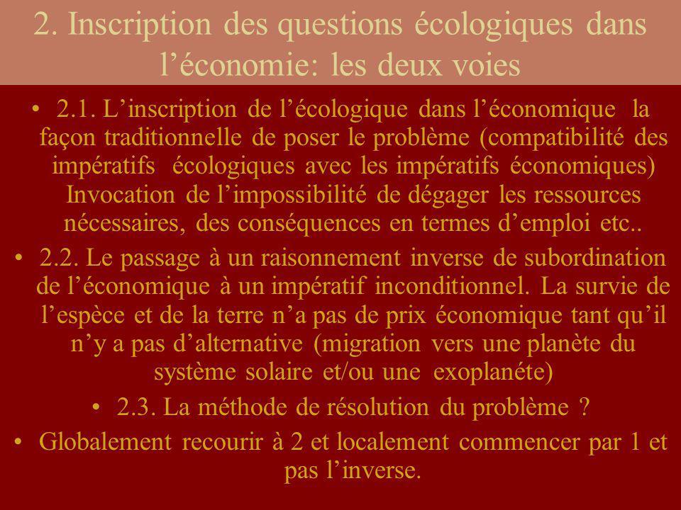 2. Inscription des questions écologiques dans léconomie: les deux voies 2.1. Linscription de lécologique dans léconomique la façon traditionnelle de p