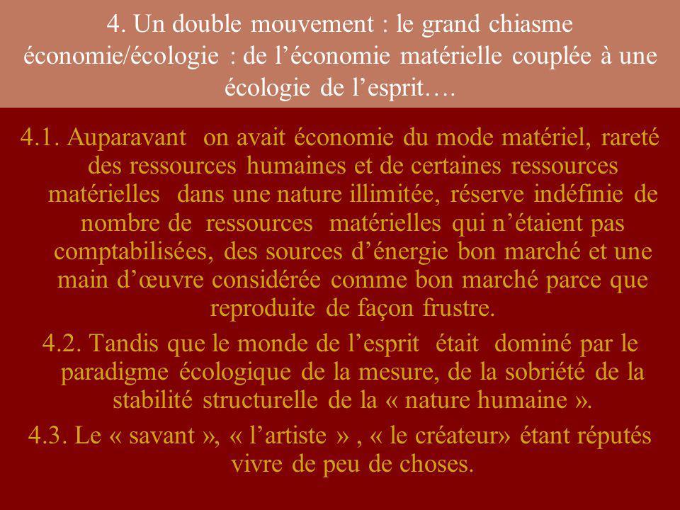 4. Un double mouvement : le grand chiasme économie/écologie : de léconomie matérielle couplée à une écologie de lesprit…. 4.1. Auparavant on avait éco