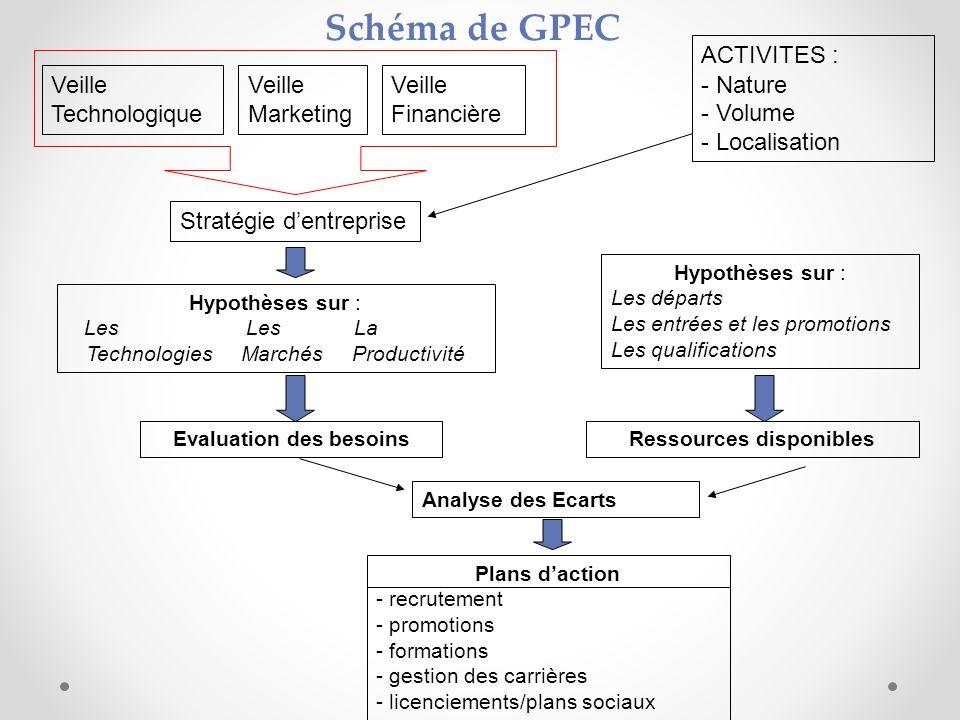 Schéma de GPEC Veille Technologique Veille Marketing Veille Financière Stratégie dentreprise ACTIVITES : - Nature - Volume - Localisation Hypothèses s