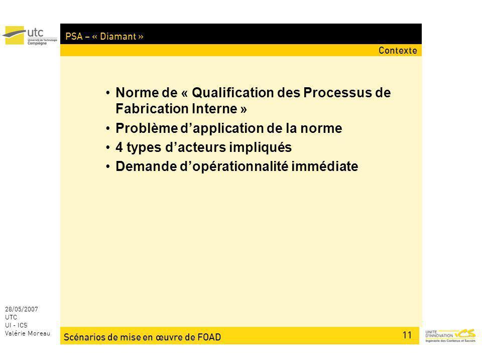 Scénarios de mise en œuvre de FOAD 11 28/05/2007 UTC UI - ICS Valérie Moreau PSA – « Diamant » Contexte Norme de « Qualification des Processus de Fabr
