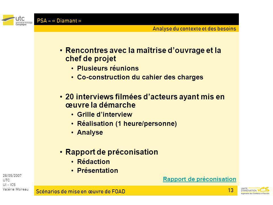 Scénarios de mise en œuvre de FOAD 13 28/05/2007 UTC UI - ICS Valérie Moreau PSA – « Diamant » Analyse du contexte et des besoins Rencontres avec la m