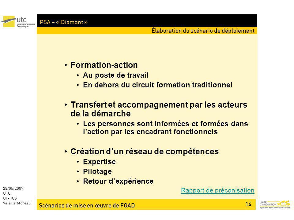 Scénarios de mise en œuvre de FOAD 14 28/05/2007 UTC UI - ICS Valérie Moreau PSA – « Diamant » Élaboration du scénario de déploiement Formation-action