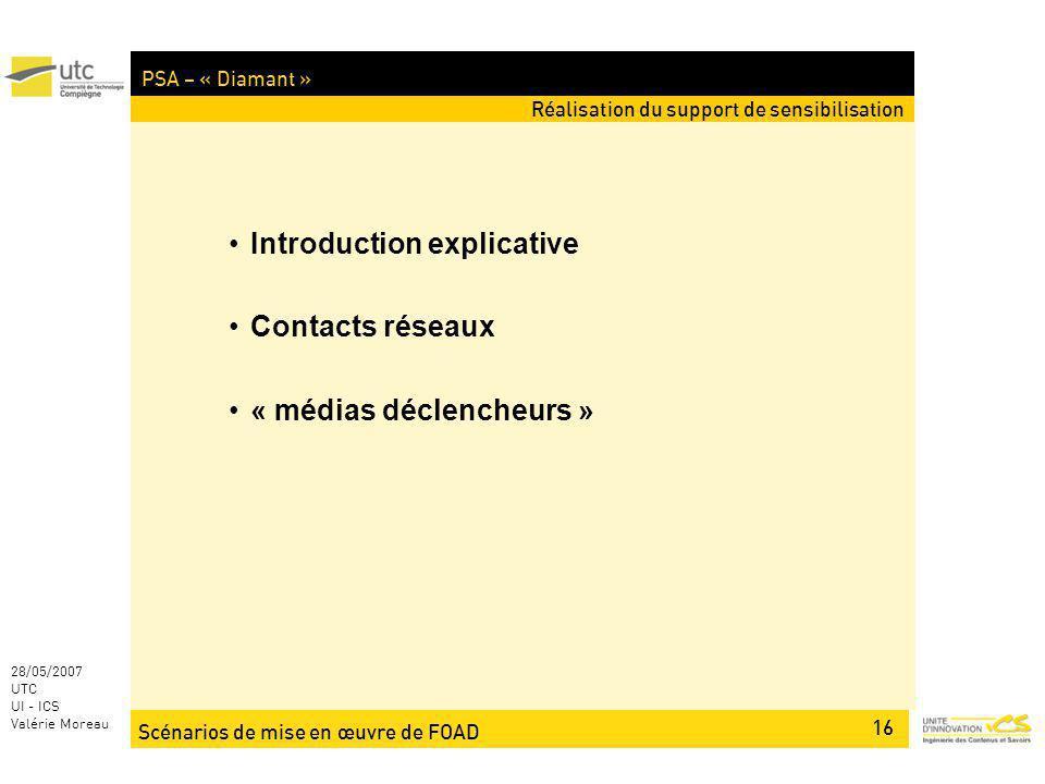 Scénarios de mise en œuvre de FOAD 16 28/05/2007 UTC UI - ICS Valérie Moreau PSA – « Diamant » Réalisation du support de sensibilisation Introduction