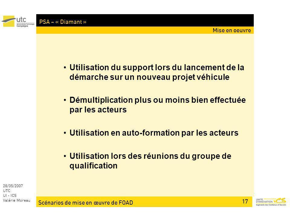 Scénarios de mise en œuvre de FOAD 17 28/05/2007 UTC UI - ICS Valérie Moreau PSA – « Diamant » Mise en oeuvre Utilisation du support lors du lancement