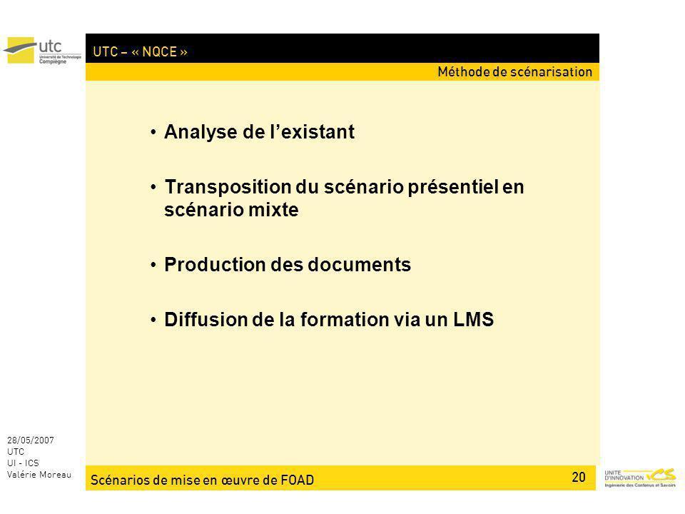 Scénarios de mise en œuvre de FOAD 20 28/05/2007 UTC UI - ICS Valérie Moreau UTC – « NQCE » Analyse de lexistant Transposition du scénario présentiel