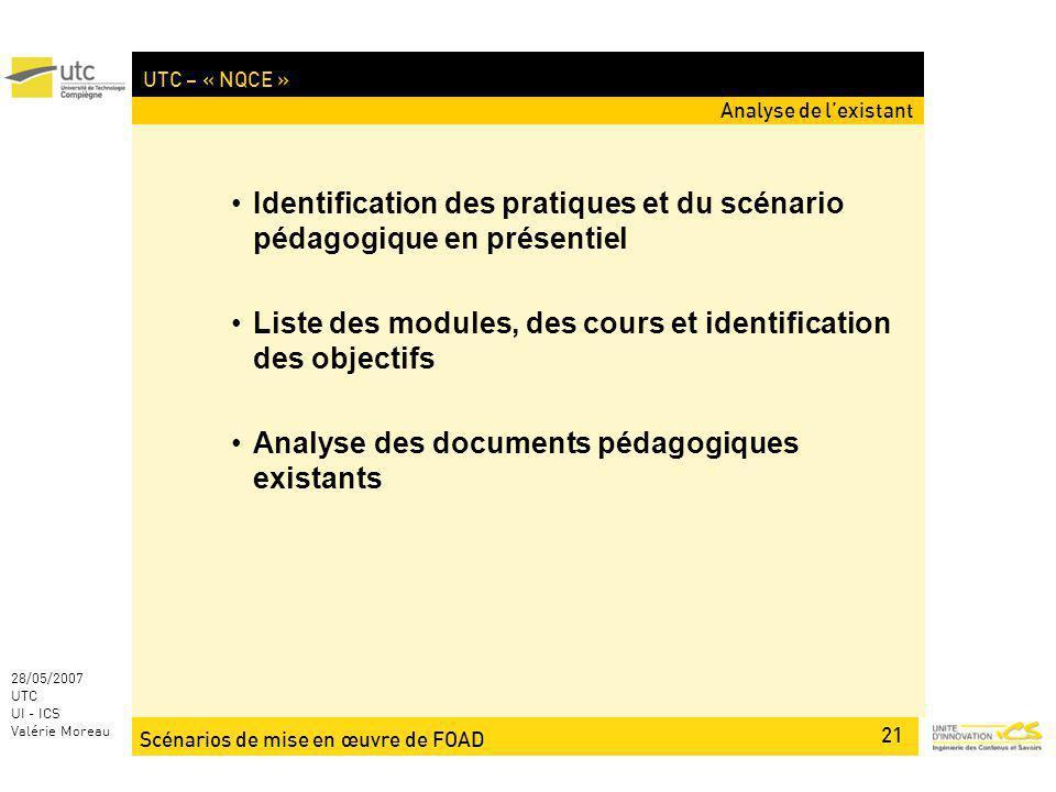 Scénarios de mise en œuvre de FOAD 21 28/05/2007 UTC UI - ICS Valérie Moreau UTC – « NQCE » Identification des pratiques et du scénario pédagogique en