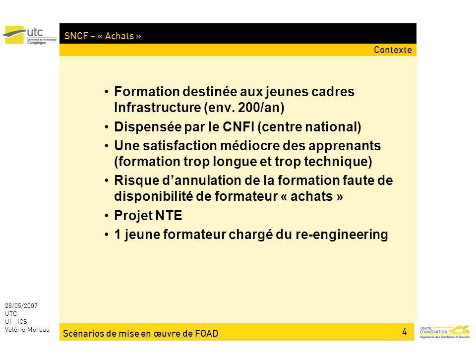 Scénarios de mise en œuvre de FOAD 4 28/05/2007 UTC UI - ICS Valérie Moreau SNCF – « Achats » Formation destinée aux jeunes cadres Infrastructure (env