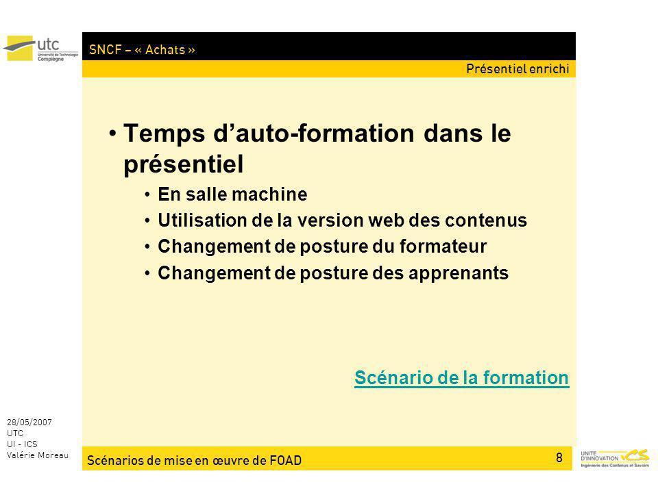 Scénarios de mise en œuvre de FOAD 8 28/05/2007 UTC UI - ICS Valérie Moreau SNCF – « Achats » Temps dauto-formation dans le présentiel En salle machin