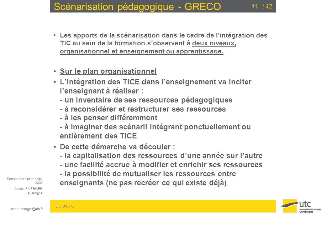 Semestre de printemps 2007 Anna LE VERGER FLE/TICE anna.leverger@utc.fr LO18/UTC / 4211 Scénarisation pédagogique - GRECO Les apports de la scénarisation dans le cadre de lintégration des TIC au sein de la formation sobservent à deux niveaux, organisationnel et enseignement ou apprentissage.